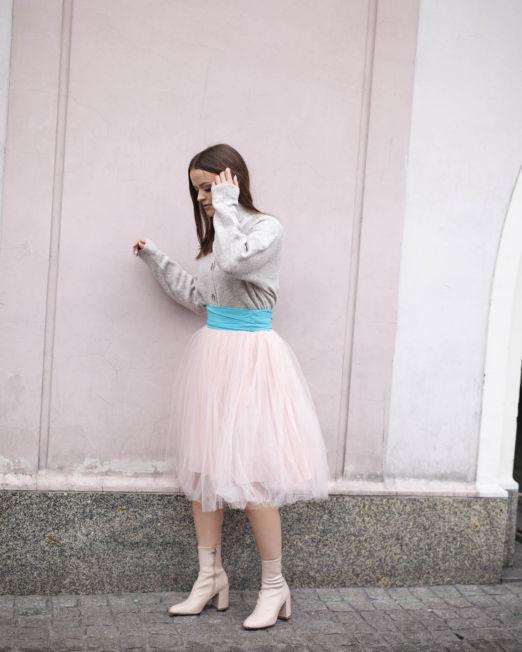 różowa spódnica tiulowa