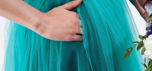 spódnica tiulowa turkusowa z kieszeniami