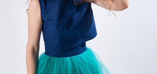 spódnica tiulowa turkusowa z wysokim stanem