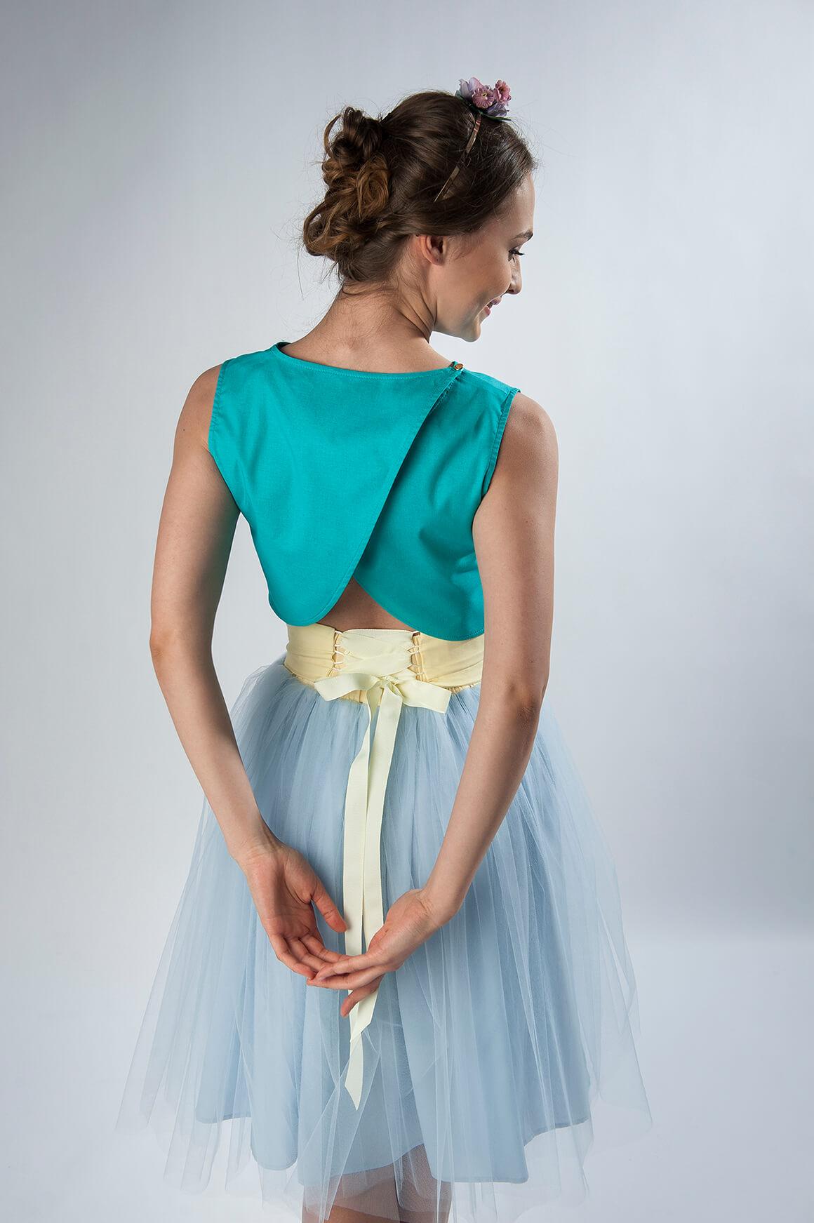 spódnica tiulowa błękitna