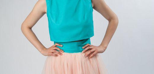spódnica tiulowa różowa z wysokim stanem