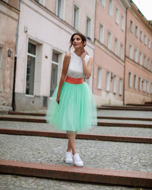 spódnica tiulowa miętowa