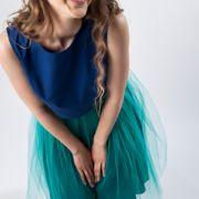 spódnica tiulowa turkusowa stylizacja studniówkowa