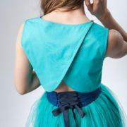 spódnica tiulowa turkusowa z wiązaniem gorsetowym