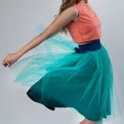spódnica tiulowa turkusowa z bawełnianą podszewką stylizacja na stiudniówkę