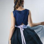 Granatowa spódnica tiulowa z bawełnianą podszewką