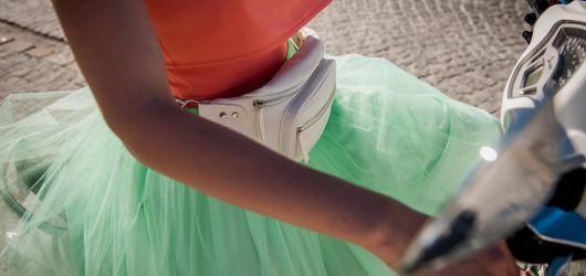 spódnica tiulowa miętowa z kieszeniami