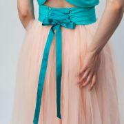 spódnica tiulowa różowa z wiązaniem z tyłu - bawełniana podszewka