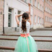 miętowa spódnica tiulowa