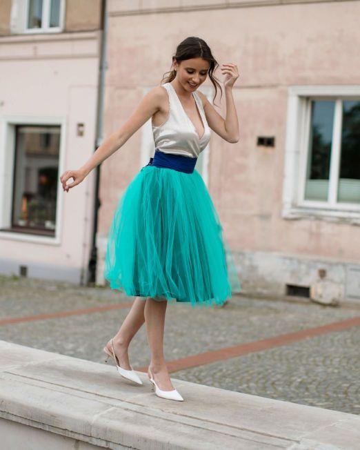 turkusowa spódnica tiulowamiętowa spódnica tiulowa
