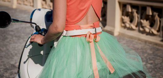 spódnica tiulowa miętowa z wiązaniem