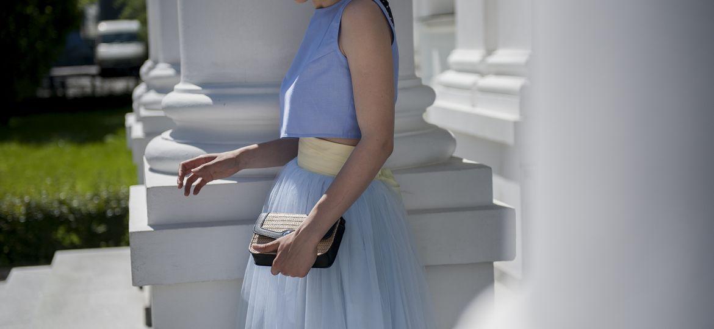 Spódnica tiulowa na wesele błękitan