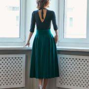 spódnica aksamitna zieleń butelkowa tył