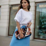 niebieska spódnica lniana mini