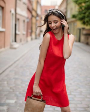 RED FRAGOLA LINEN DRESS