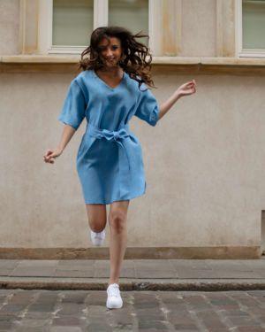 BLUE NUVOLE LINEN DRESS
