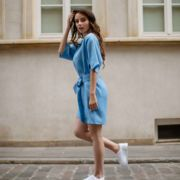 Niebieska sukienka lniana Nuvole