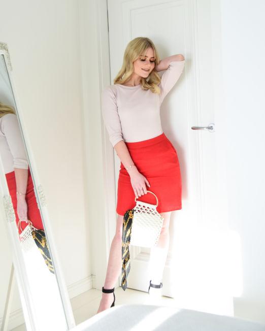 spódnica z lnu mini trapezowa czerwona