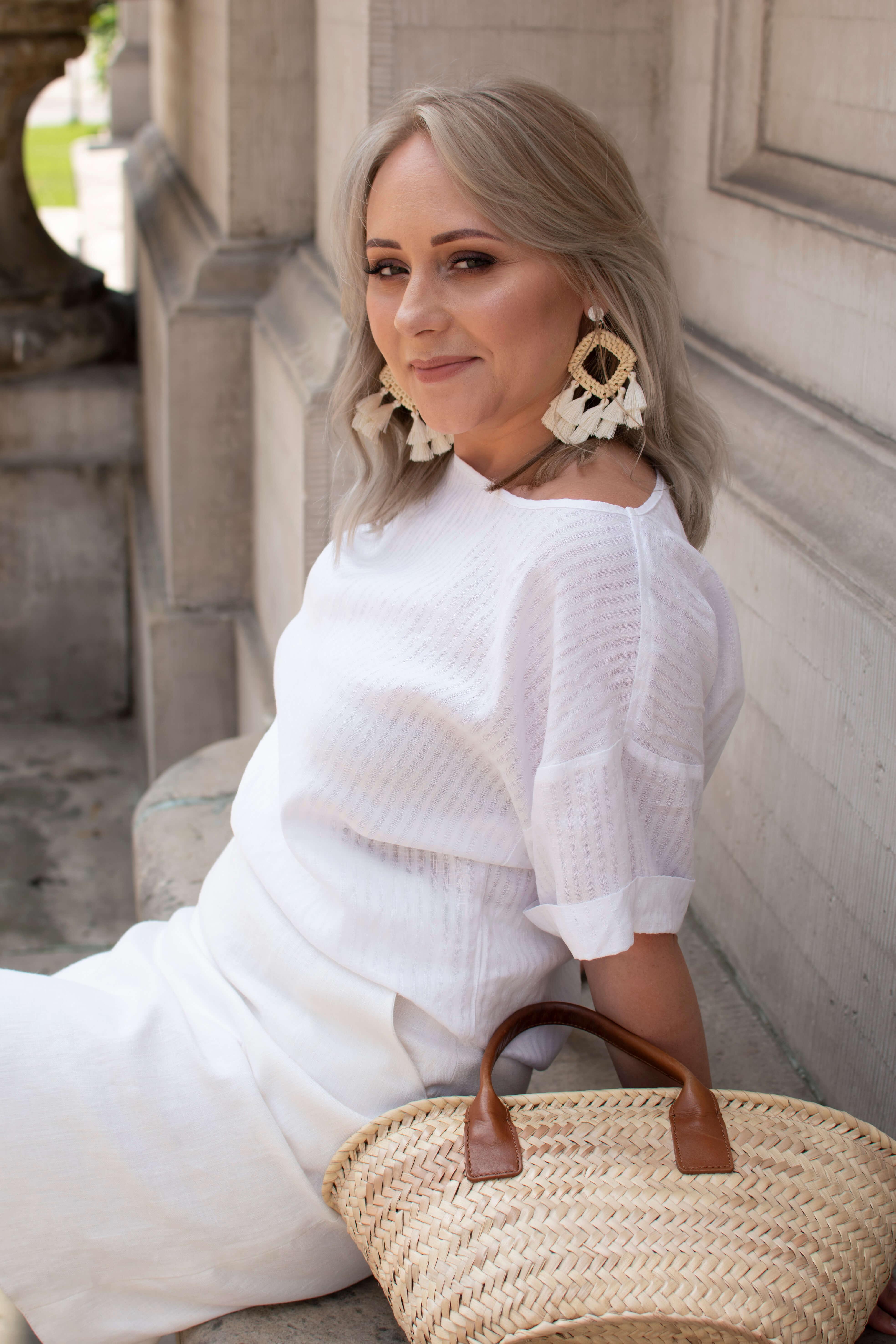 biała spódnica lniana