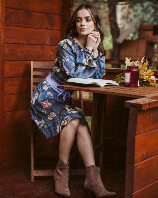 romantyczna sukienka w kwiaty na jesień, sukienka z wiskozy