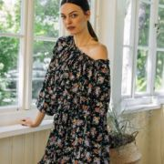 romantic dress with small floral pattern