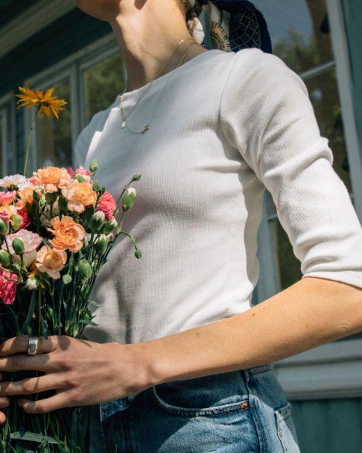 bluzka basic z bawełny prążkowanej biała