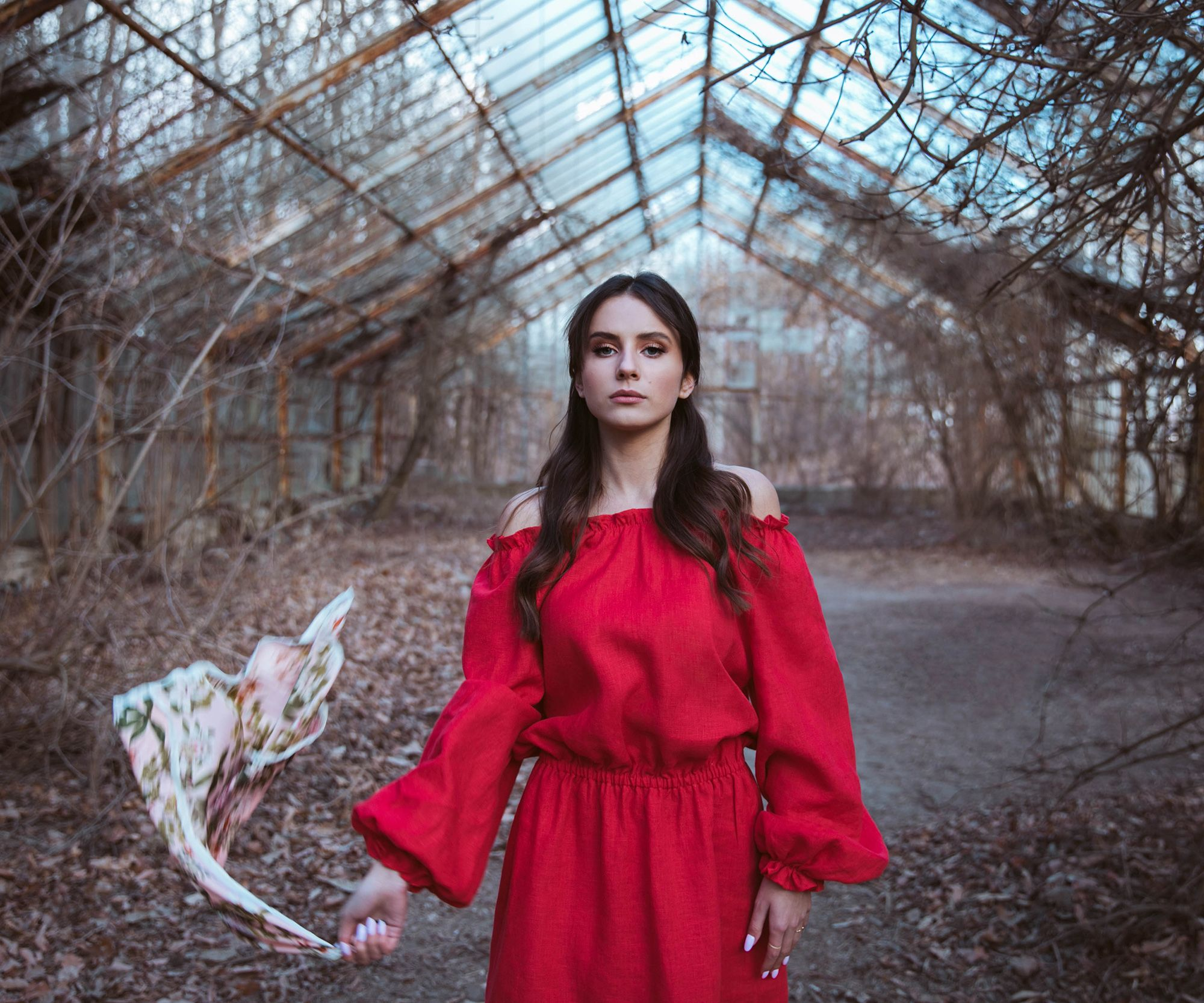 Czerwona sukienka lniana GIULIETTA