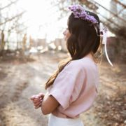 bluzka lniana pudrowy róż