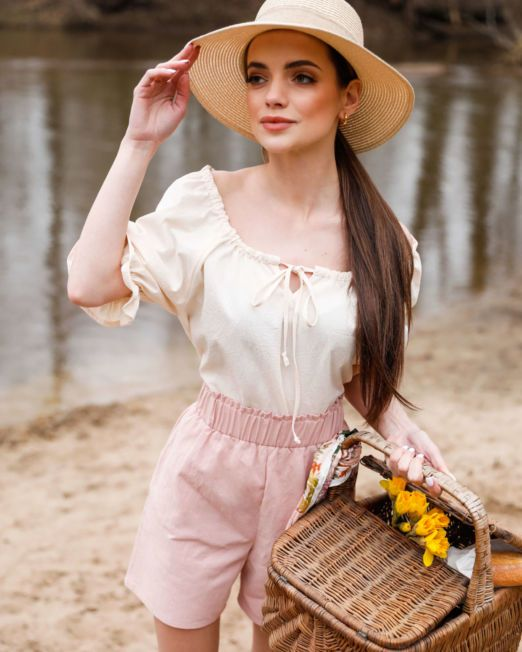 bluzka hiszpanka kremowa